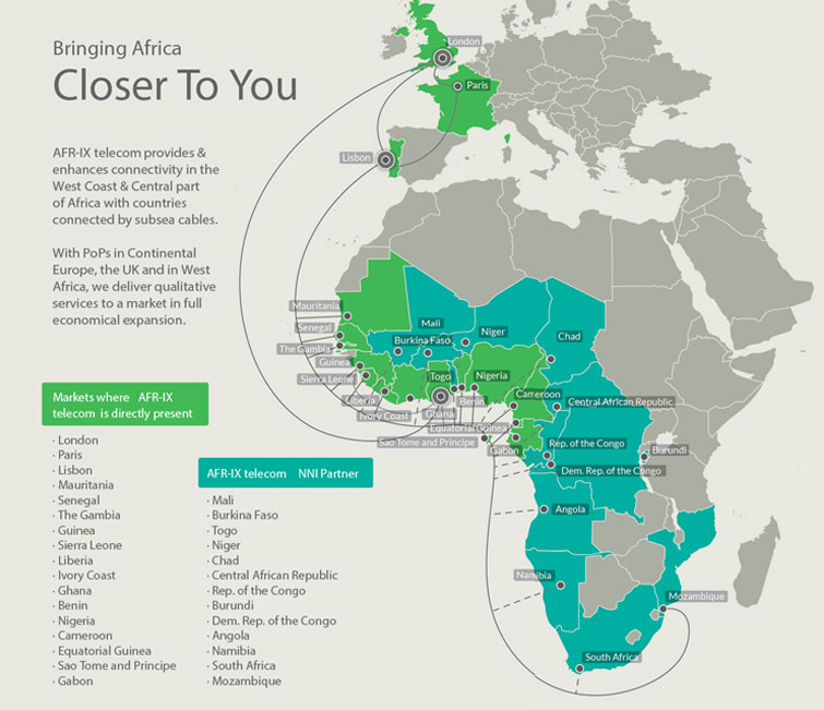5.	France-IX is reachable in West and Central Africa thanks to AFR-IX Telecom