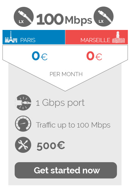 100Mbps 0euro per month,port 1Gbps, traffic up to  100 Mbps, 500 eure Non recurring fees