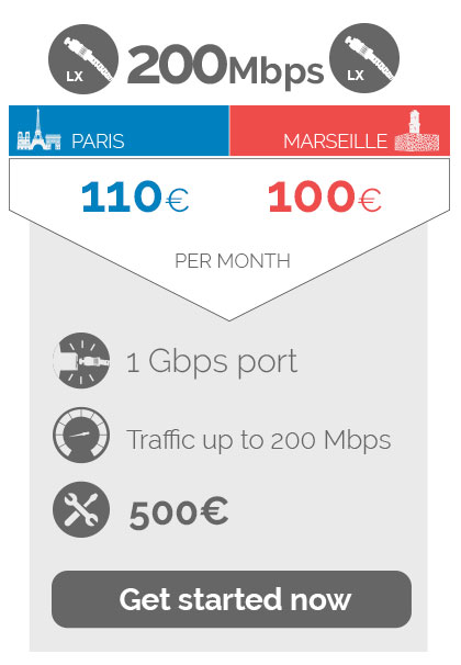 200Mbps 110euros / 100euros per month,1Gbps port, traffic up to  200 Mbps, 500 eure Non recurring fees