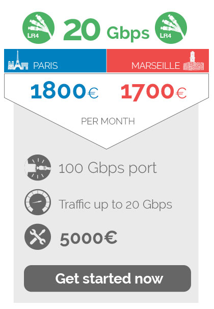 20Gbps 1800euros in Paris / 1700euros Marseille per month,port 100 Gbps, traffic up to  20 Gbps, 500euros Non recurring fees