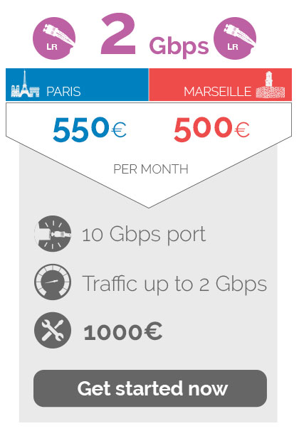 2Gbps 550euros in Paris / 500euros in Marseille per month,port 2Gbps, traffic up to  2Gbps, 1000euros Non recurring fees